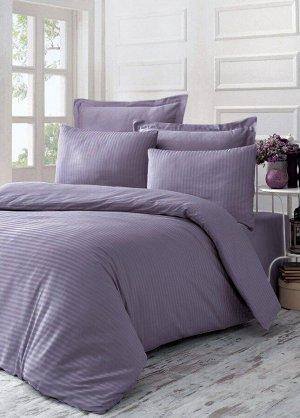 """Элитное постельное белье страйп-сатин """"Purple Sage"""" 2 сп. с простыней на резинке 140х200"""
