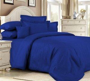 """Элитное постельное белье сатин """"Classic Blue"""" 2 сп. с простыней на резинке 140х200"""