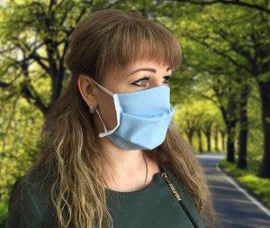 Комплект санитарно-гигиенических защитных масок, Бязь ГОСТ 142 гр./м. (10 шт) (Голубая, вид 1)