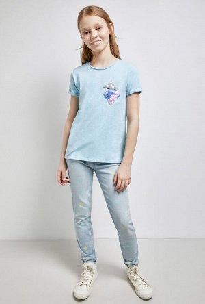Брюки джинсовые детские для девочек Gekla голубой