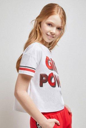 Футболка(Фуфайка) детская для девочек Fidzi белый