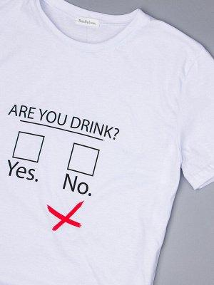 Футболка трикотажная мужская, ARE YOU DRINK?, белый