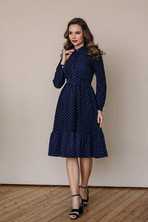 Платье 438/4, темно-синий/мелкий горох