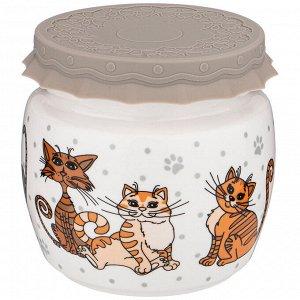"""""""Озорные коты"""" Банка для хранения сыпучих продуктов 750мл 359-810"""