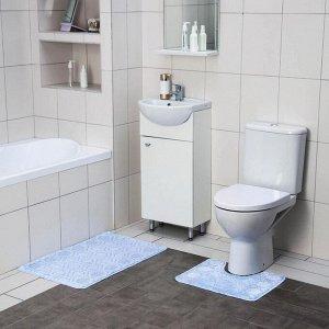 Набор ковриков для ванны и туалета SHAHINTEX «Актив», 2 шт: 50?80, 50?40 см, цвет голубой