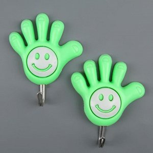 Набор крючков на липучке «Ручка-смайлик», 2 шт, цвет МИКС