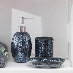Набор аксессуаров для ванной комнаты «Зазеркалье», 3 предмета (дозатор 370 мл, мыльница, стакан), цвет чёрный