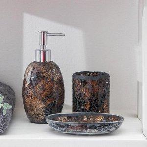 Набор аксессуаров для ванной комнаты «Зазеркалье», 3 предмета (дозатор 370 мл, мыльница, стакан), цвет янтарь