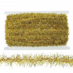 Тесьма в виде мишуры золотая 1,5 см, в упаковке 25 метров