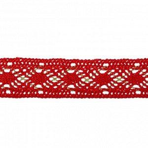 Тесьма красная с люрексом, 2,5 см, в рулоне 10 метров