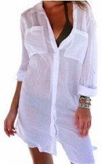 Пляжная туника - рубашка с длинными рукавами