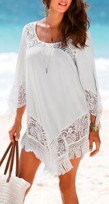 Пляжная туника с кружевом и длинными рукавами