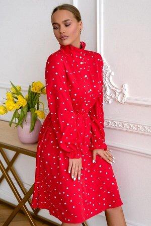 Платье Размер: 42 / 46 Будто лепесток красной розы с маленькими капельками воды - такое описание очень подойдёт модели платья 4714. Материал 100% вискоза, Тенсел - воздушный и дышащий. Высокий воротни