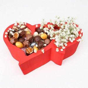 """Пенобокс 28?18?10 см кашпо для цветов и подарков """"Сердца, сердечки"""", красный"""
