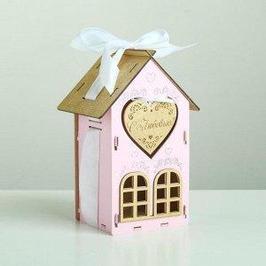 """Коробка деревянная, 13.5?11.5?21 см """"С Любовью!"""", подарочная упаковка, розовый"""