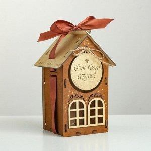"""Коробка деревянная, 13.5?11.5?21 см """"От всего сердца!"""", подарочная упаковка, мокко"""