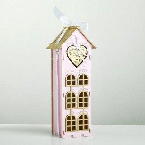 """Коробка деревянная, 13.5?11.5?36.5 см """"С Любовью!"""", подарочная упаковка, розовый"""