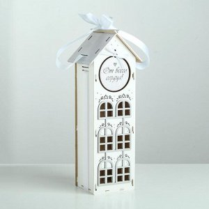 """Коробка деревянная, 13.5?11.5?36.5 см """"От всего сердца!"""", подарочная упаковка, белый"""