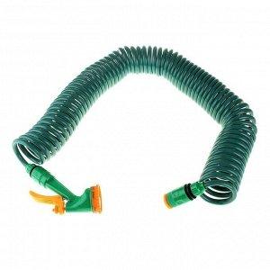 Шланг, ПВХ, спиральный, L = 15 м, распылитель 4 режима, «Пружина»