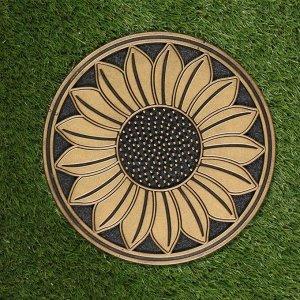 Мобильная садовая плитка-коврик, d = 30 см, резина, «Подсолнух»