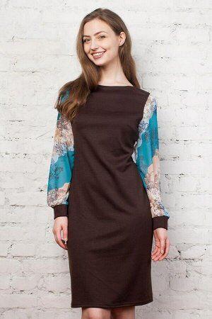 Платье Трикотаж, рукава - шифон. Длина 98см.