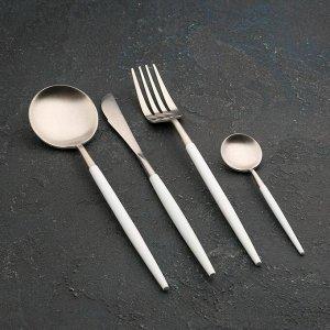 Набор столовыХ приборов Magistro «Фолк», 4 предмета, цвет серебро