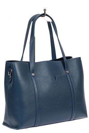 Женская сумка-тоут из фактурной натуральной кожи, синий цвет
