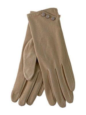 Демисезонные женские перчатки из велюра, цвет бежевый