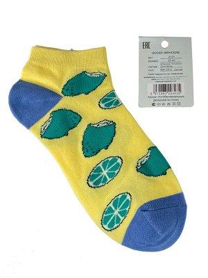 Женские носки с принтом, хлопок-эластан-полиамид, цвет жёлтый с синим