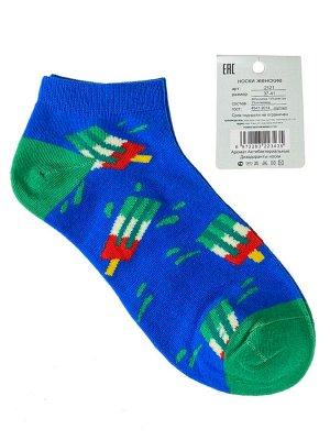 Женские носки с принтом, хлопок-эластан-полиамид, цвет синий с зелёным