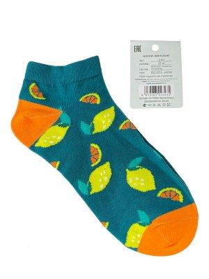 Женские носки с принтом, хлопок-эластан-полиамид, цвет зелёный с оранжевым