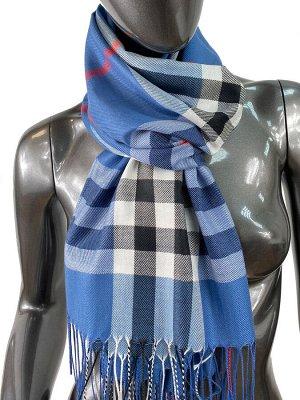 Кашемировый шарф-палантин с бахромой в клетку, цвет джинсовый