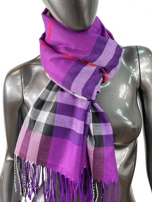 Кашемировый шарф-палантин с бахромой в клетку, цвет ярко-фиолетовый