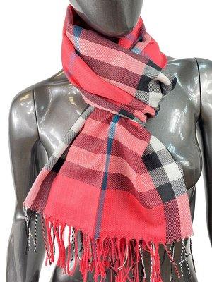 Кашемировый шарф-палантин с бахромой в клетку, цвет коралловый