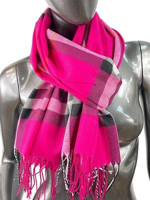 Кашемировый шарф-палантин с бахромой в клетку, цвет пурпурный