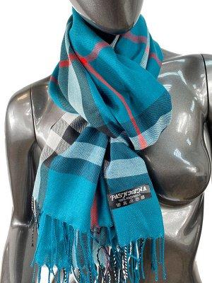 Кашемировый шарф-палантин с бахромой в клетку, цвет бирюзовый