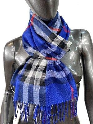 Кашемировый шарф-палантин с бахромой в клетку, цвет синий