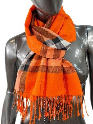 Кашемировый шарф-палантин с бахромой в клетку, цвет оранжевый