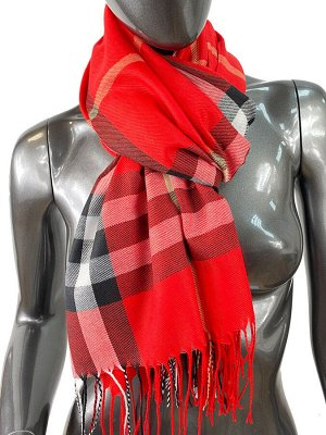 Кашемировый шарф-палантин с бахромой в клетку, цвет красный