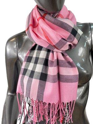 Кашемировый шарф-палантин с бахромой в клетку, цвет розовый