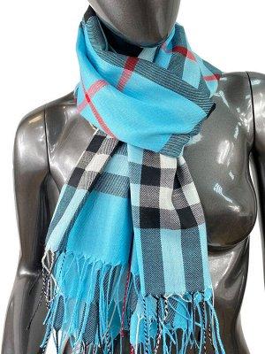 Кашемировый шарф-палантин с бахромой в клетку, цвет голубой