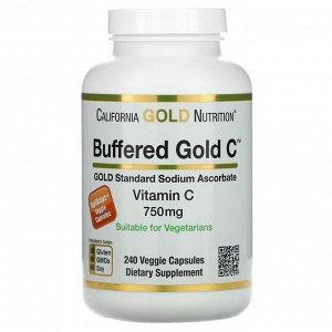 Витамин C California Gold Nutrition, Buffered Gold C, некислый витамин C, аскорбат натрия, 750 мг, 240 растительных капсул. Витамин С является важным питательным веществом, которое поддерживает иммуни