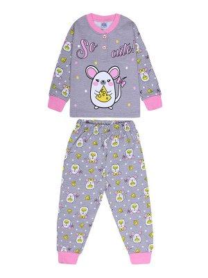 Пижама для девочки серый меланж