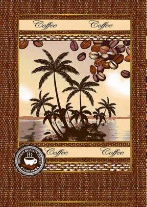 Р. Полотенце Кофе (Пальмы) 50х63  Рогожка  купон