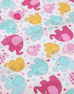 """Ситец детский """"Разноцветные слоники"""" цв.мятный, розовый, ш.0.95м, хлопок-100%, 95гр/м.кв"""