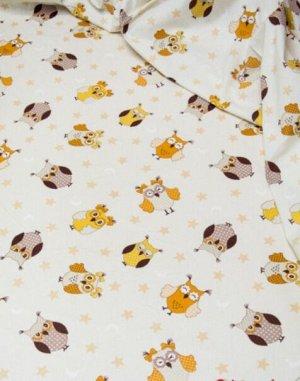 """Поплин """"Совы серо-коричнево-бежевые на молочном"""", ш.1.5м, хлопок-100%, 115гр/м.кв"""