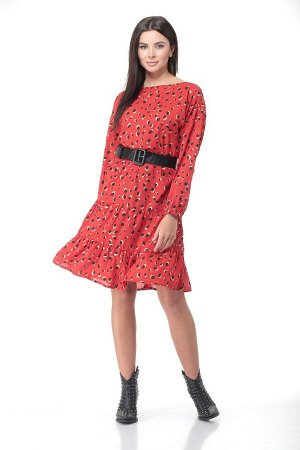 Платье Deluizn 898 красный-леопард