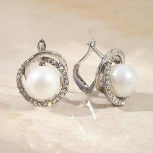 """Серьги с жемчугом """"Грейс"""" кольца, цвет белый в серебре"""