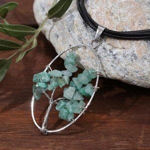 """Кулон на шнурке """"Агат"""" калиста, овал, цвет зелёный в серебре , длина 60см 6629709"""