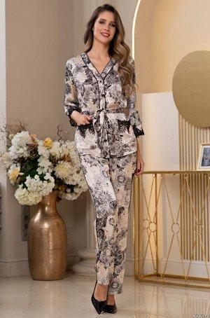 """Пижама """"     Комплект-тройка Mia-Amore состоит из жакета с центральной застежкой на пуговицы, брюк и топа и выполнен из принтованного смесового шелкового полотна. Рукава по низу и карманы жакета, лиф"""
